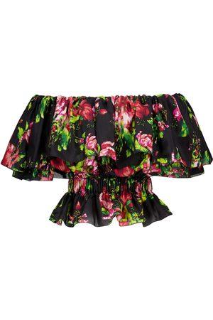 ALEXANDRE VAUTHIER Floral silk off-shoulder top