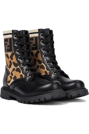 Fendi FF leopard-jacquard and leather ankle boots