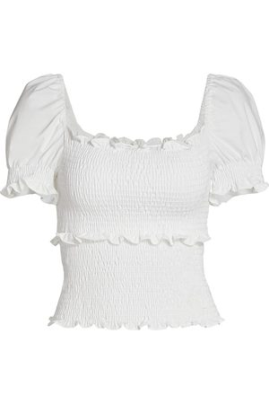 Cinq A Sept Women's Lillie Smocked Puff-Sleeve Top - Ivory - Size XS