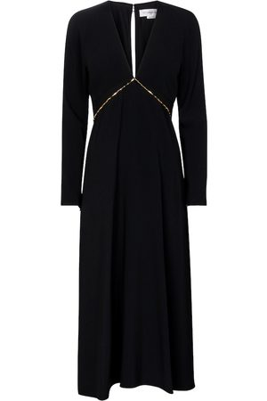 Victoria Beckham Chain-trimmed cady midi dress