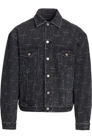 Balenciaga Men's Large Fit Logo Denim Jacket - Stonewash - Size 46 (36)