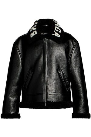 Balenciaga Men Leather Jackets - Men's Cocoon Shearling Collar Leather Jacket - - Size 52 (42)