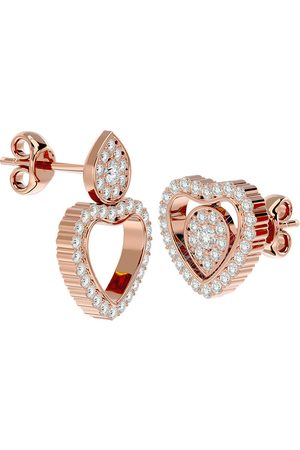 SuperJeweler 1/2 Carat Diamond Heart Shape Transformable Stud & Dangle Earrings in 14K (3.75 g) (G-H Color