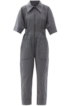 Ssone Ritual Striped Organic-cotton Jumpsuit - Womens - Denim