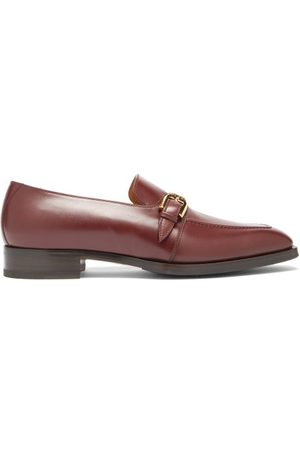 Gucci - Zola Buckled Leather Loafers - Mens - Burgundy
