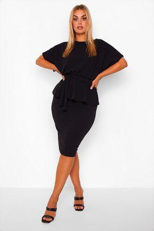 Boohoo Womens Plus Slash Neck Peplum Dress - - 12