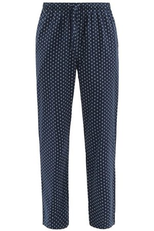 DEREK ROSE Nelson 74 Dotted Cotton-batiste Lounge Trousers - Mens - Navy