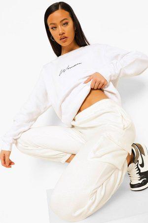 Boohoo Women Sweatshirts - Womens Oversized Embroidered Woman Script Sweatshirt - - 2