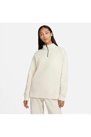 Nike Women Sports Hoodies - Women's Sportswear Trend Quarter-Zip Fleece Sweatshirt in Off-White/Coconut Milk Size X-Small Cotton/Polyester/Fleece