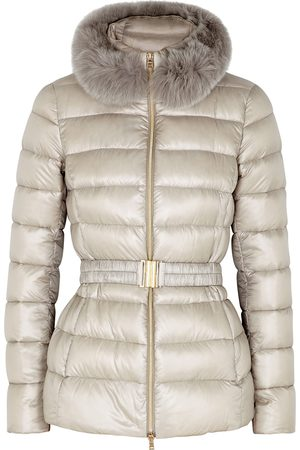 HERNO Claudia stone fur-trimmed quilted shell jacket