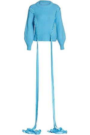 Alejandra Alonso Rojas Women Tops - Women's Ribbon Braided Cashmere & Wool Knit Sweater - Bright - Size XS