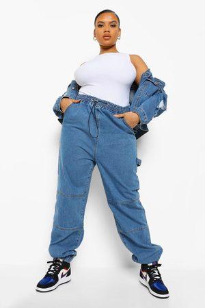 Boohoo Womens Plus Paperbag Tie Cuff Detail Denim Twill Jogger - - 12