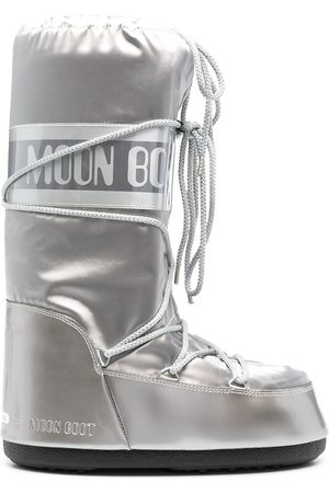 Moon Boot Men Snow Boots - Icon Glance satin snow boots - Grey