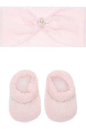 La Perla Knit Headband & Socks W/ Faux Pearls