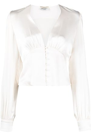 Saint Laurent V-neck silk blouse - Neutrals