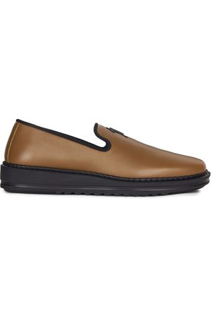 Giuseppe Zanotti Men Flat Shoes - Slip-on leather slippers with logo detail