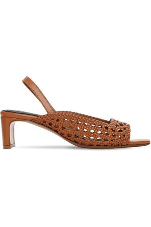 Souliers Martinez 50mm Woven Leather Sling Back Sandals