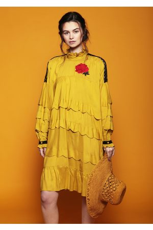 MARAINA LONDON VIOLENE mustard embroidered scallop edge midi dress