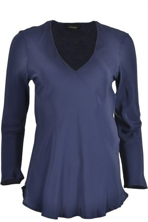 OTTOD'AME OttodAme Silk Mix V Neck Blouse Navy