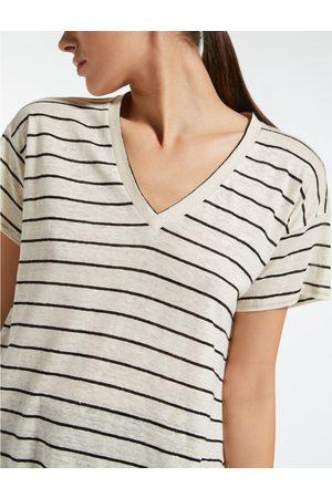 Max Mara Weekend by MaxMara Zante Stripe Slub V Neck Tshirt Colour: , Size