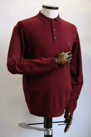 Gabicci Francesco Port Long-Sleeved Knitted Polo Shirt