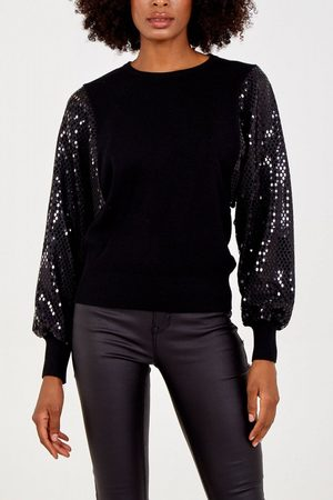 Odyl Sequin sleeve jumper