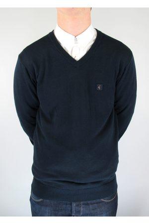 Gabicci Brandon Navy Knitted V-Neck Jumper