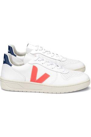 Veja V-10 Leather Trainers - White Cobalt