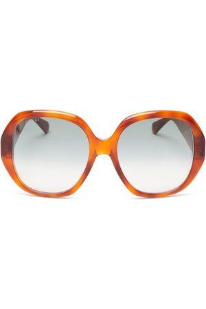 Gucci Women Round - Oversized-round Tortoiseshell-acetate Sunglasses - Womens - Tortoiseshell