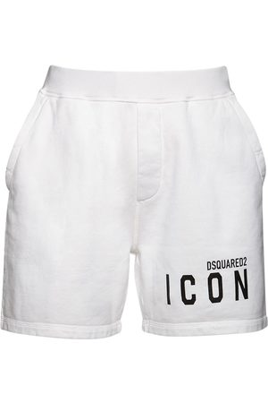 Dsquared2 Icon Logo Print Cotton Sweat Shorts