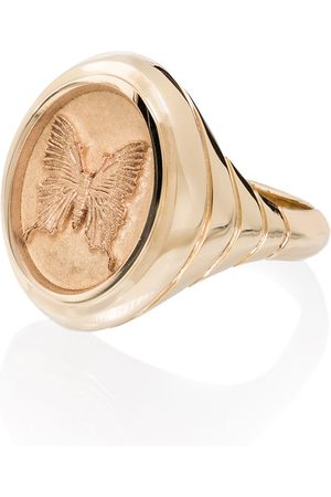 Retrouvai Women Rings - 14kt yellow Grandfather butterfly signet ring