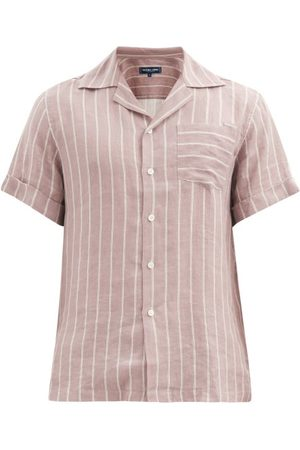 Frescobol Carioca Thomas Short-sleeved Leblon-stripe Linen Shirt - Mens - Dark