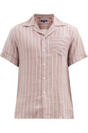Frescobol Carioca Thomas Short-sleeved Leblon-stripe Linen Shirt - Mens - Grey
