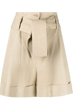 P.a.r.o.s.h. Women Shorts - High-rise tied-waist shorts - Neutrals