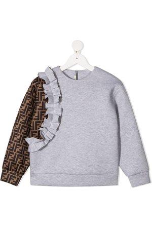 Fendi FF pattern ruffled sweatshirt - Grey