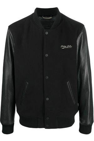 Philipp Plein Leather sleeve bomber jacket