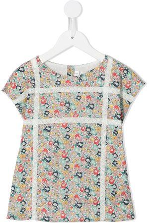 BONPOINT Floral-print lace-trim top