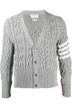 Thom Browne 4-Bar Aran cable knit cardigan - Grey
