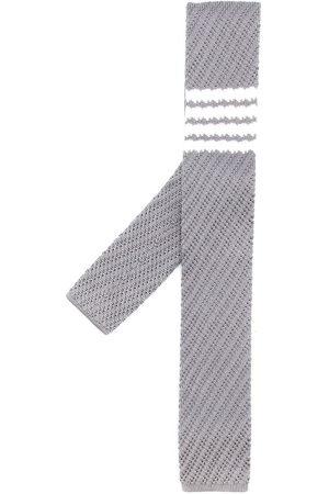 Thom Browne Men Bow Ties - 4-Bar knitted silk tie - Grey