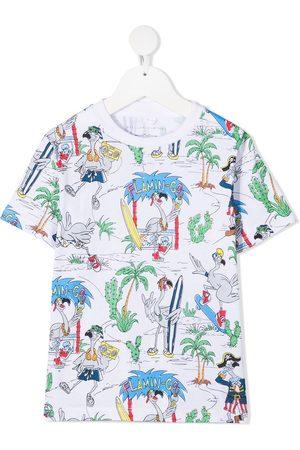 Stella McCartney Girls T-shirts - Flamingo Land cotton T-shirt