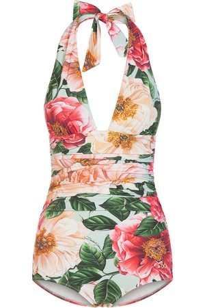 Dolce & Gabbana Women Swimsuits - Floral print halterneck swimsuit