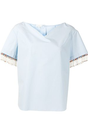 DELPOZO Bead-fringed shirt with sweetheart neckline
