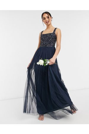 Maya Bridesmaid sleeveless square neck maxi tulle dress with tonal delicate sequin overlay in navy