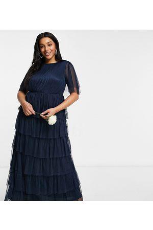 ANAYA Women Maxi Dresses - Anaya With Love Plus bridesmaid ruffle tiered maxi dress in navy