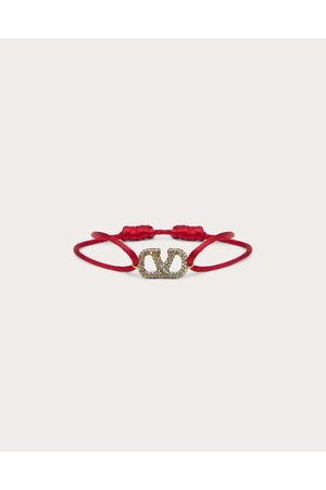 VALENTINO GARAVANI Women Bracelets - Vlogo Signature Bracelet In Cotton And Rhinestones Women Rouge Pur Polyester 100% OneSize