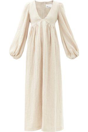 Lisa Marie Fernandez Women Maxi Dresses - Carolyn V-neck Linen-blend Maxi Dress - Womens - Grey