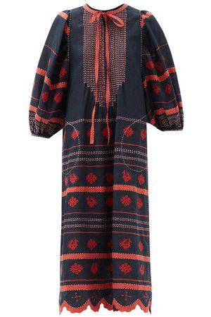 VITA KIN Embroidered Linen Dress - Womens - Navy Multi