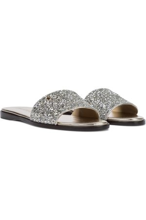 Jimmy Choo Minea glitter leather slides