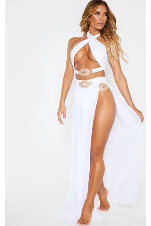 PRETTYLITTLETHING Chiffon Diamante Jewel Beach Skirt