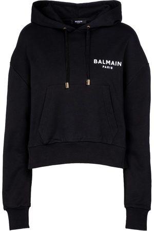Balmain Logo cotton jersey hoodie